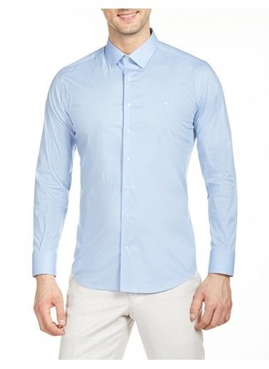 Bisse Slim Fit Düz Klasik Gömlek Mavi
